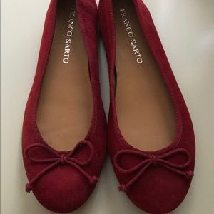 Franco Sarto Red Ballet Flats with bow tie lace